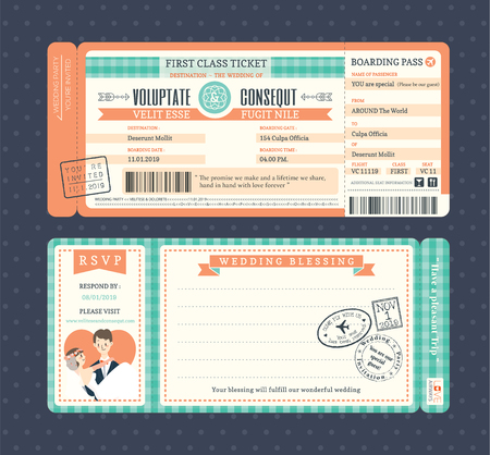 airplane: Pastel Retro Boarding Pass Ticket Wedding Invitation Template Illustration