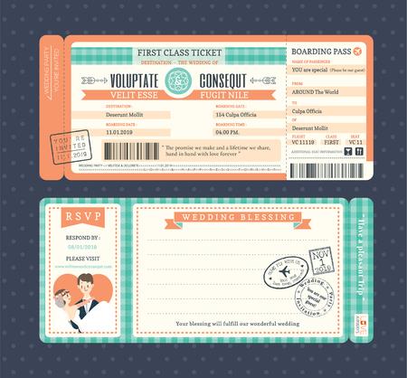 lady fly: Pastel Retro Boarding Pass Ticket Wedding Invitation Template Illustration