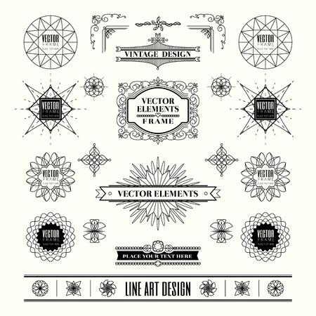 insignias: Conjunto de gráficos de línea delgada lineal deco elementos de diseño vintage retro con insignia esquina del marco en forma geométrica