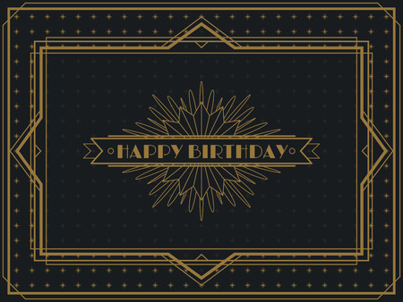 Vintage Art Deco Happy Birthday card frame design template Reklamní fotografie - 50146371