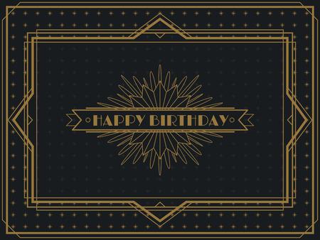 Plantilla de diseño de marco de tarjeta de feliz cumpleaños Art Deco vintage