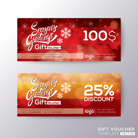 Season greeting holiday gift certificate voucher coupon card background template