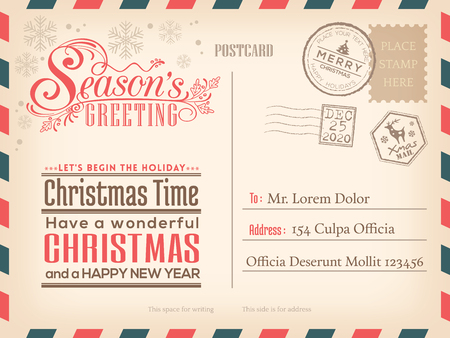 Vintage Christmas and Happy New year holiday postcard background  for party invitation card