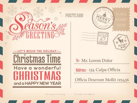 postcard: Feliz Navidad y fondo de año nuevo día de fiesta Postal de la vendimia para la tarjeta de invitación del partido