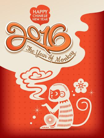 monos: A�o Nuevo chino de la ilustraci�n del mono 2016