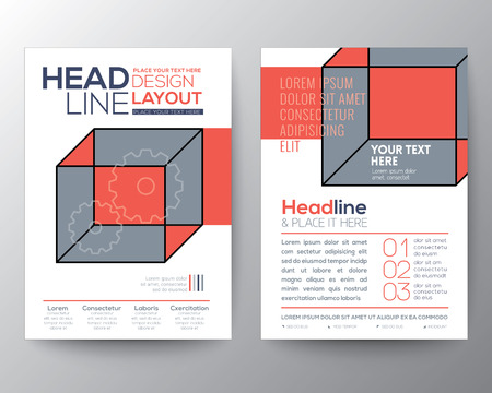 magazine cover: Abstract isometric cube Poster Brochure design Layout  template in A4 size Illustration