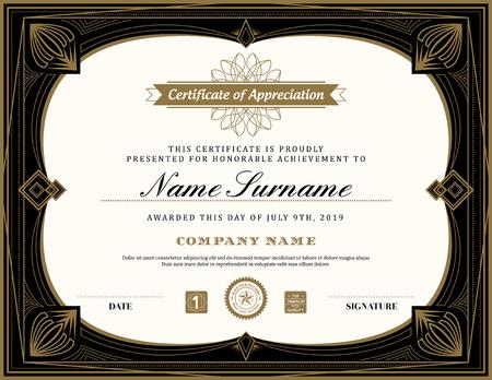 art frame: Vintage retro art deco frame certificate background design template