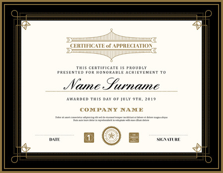 design layout: Vintage retro art deco frame certificate background design template
