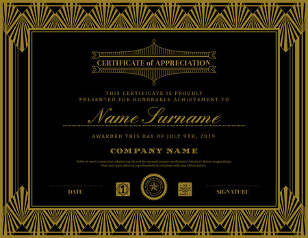 gold swirl: Vintage retro art deco frame certificate background design template