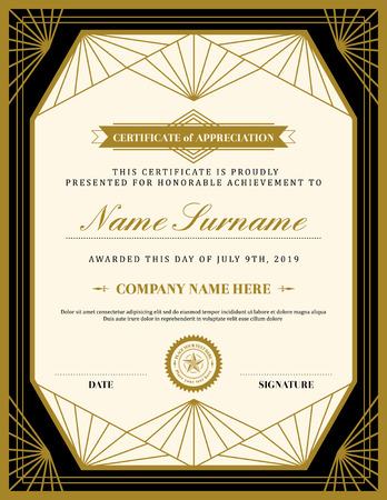 honour: Vintage retro art deco frame certificate background design template