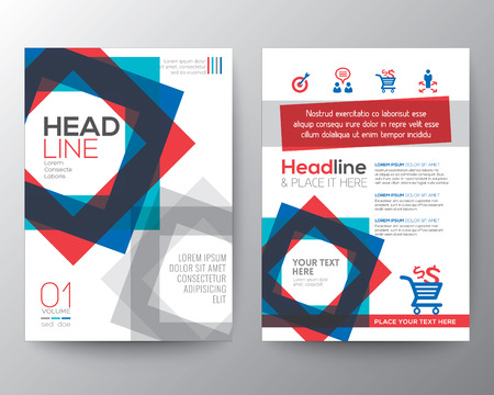 business flyer: Abstract square shape background for Poster Brochure design Layout template in A4 size Illustration