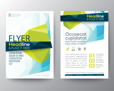 leaflet design: Abstract low polygon background for Poster Brochure design Layout template in A4 size