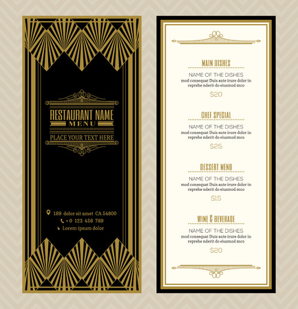 gold swirl: Restaurant or cafe menu design template with vintage retro art deco frame style