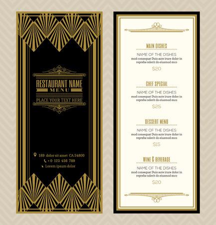 menu de postres: Restaurante o cafetería menú diseño de la plantilla con el arte retro del estilo deco marco de la vendimia