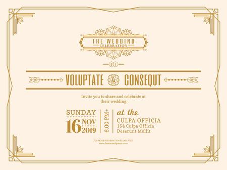 wedding  art: Vintage Wedding invitation card border and frame design template