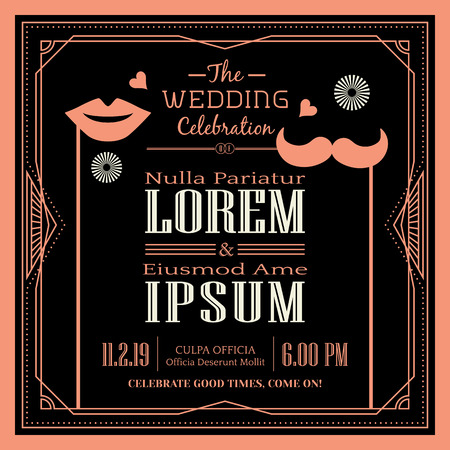 lip: Vintage Wedding invitation border and frame template