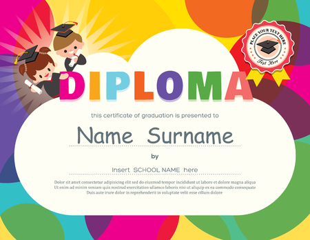 kindergarten education: Preschool Elementary school Kids Diploma certificate background design template