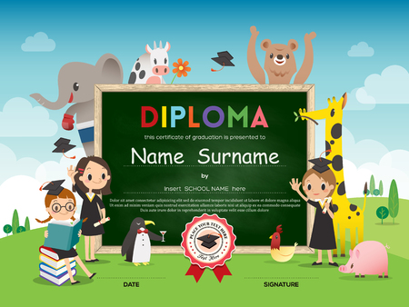 primary colours: School Kids Diploma certificate template with animal cartoon frame border and green chalk board vector background illustration