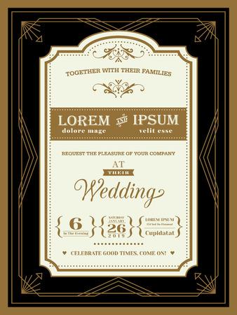 Vintage grens uitnodiging van het huwelijk en het frame sjabloon