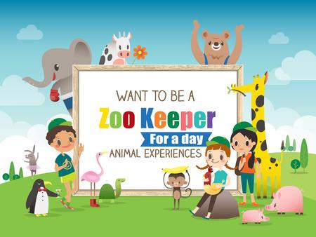 selva caricatura: Empleado de zoológico para un Modelo de la frontera día los niños y animales Marco de la historieta con la ilustración vectorial pizarra
