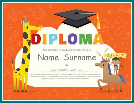 graduacion caricatura: Escuela Primaria Ni�os Diploma certificado de antecedentes plantilla de dise�o
