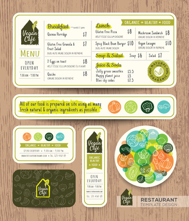 Vegetarian and vegan healthy restaurant cafe set menu graphic design template layout