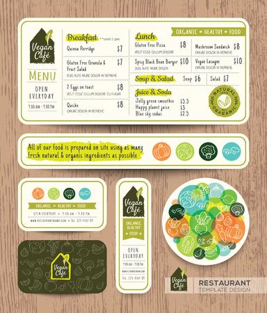Vegetarische en veganistische gezonde restaurant café vast menu grafisch design template lay-out Stock Illustratie