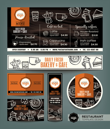 Koffie winkel van de bakkerij cafe set menu grafisch design template Stock Illustratie