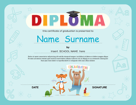 background frame: Preschool Kids Diploma certificate background design template with animals cartoon Illustration