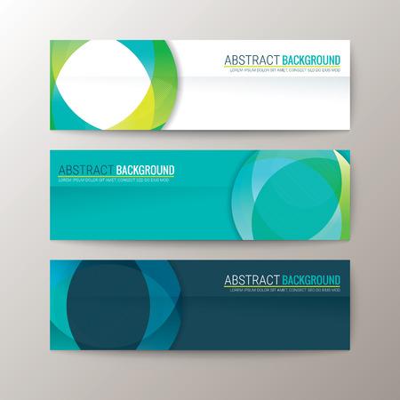lineas horizontales: Conjunto de diseño moderno plantilla de banderas con el círculo abstracto del modelo del fondo la forma de