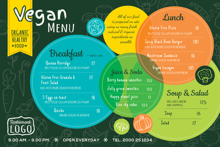 colorful organic food vegan restaurant menu board or placemat vector template Vettoriali