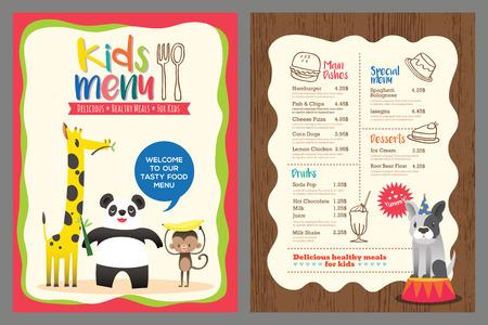 Leuke kleurrijke kindermaaltijd menu vector sjabloon met cartoon dieren