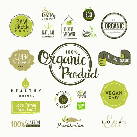 Set of organic food labels and design elements Reklamní fotografie - 53061935