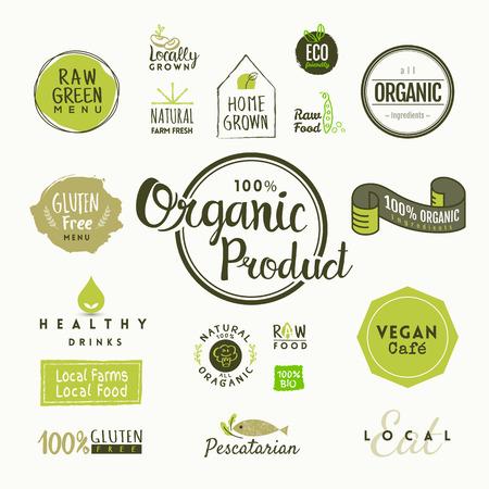 Set van biologisch voedsel labels en design-elementen