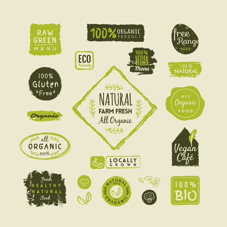 Set of organic food labels and design elements