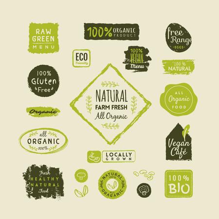 Set of organic food labels and design elements
