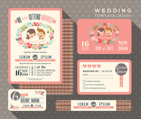 wedding couple: groom and bride cartoon retro wedding invitation set design Template Vector place card response card save the date card