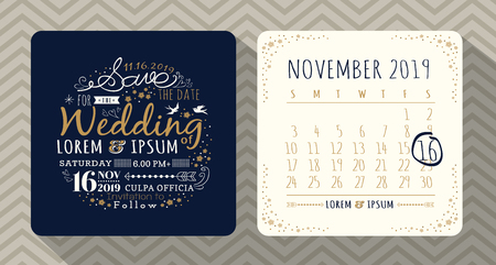 circle calendar date: Vintage typography wedding invitation save the date card