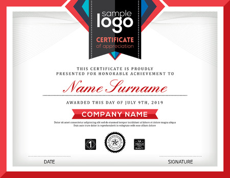 certificate template: Modern certificate abstract graphic background frame design template