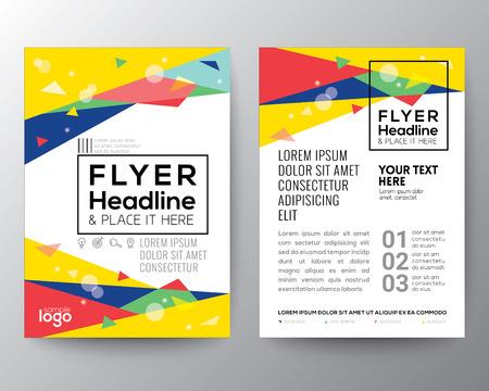 A4 크기의 포스터 브로셔 전단 디자인 레이아웃 벡터 템플릿 추상 80 년대 스타일의 삼각형 모양 배경
