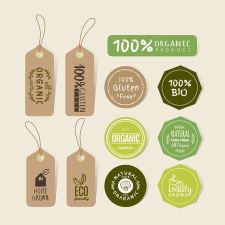 saludable logo: Conjunto de etiqueta de alimentos orgánicos y elementos de diseño de la etiqueta autoadhesiva