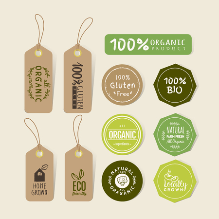 label design: Set of organic food tag and label sticker design elements