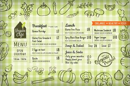 Alimentos orgánicos bordo de menú de un restaurante vegetariano o plantilla vector de mantel Foto de archivo - 53297595