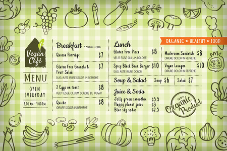 menu restaurant: organic food vegan restaurant menu board or placemat vector template Illustration