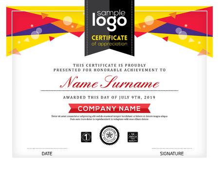 certificado: plantilla de diseño gráfico de fondo abstracto del marco del certificado postmodernismo Vectores