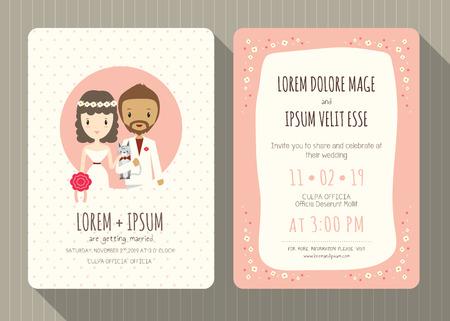 Plantilla de la tarjeta de la invitación de la boda con el novio lindo y la novia