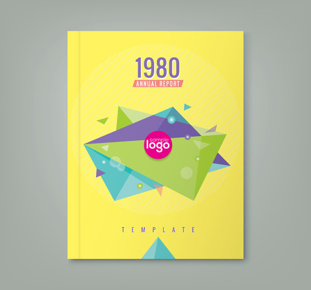 prospectus: Abstract 80s style triangle geometric shapes design background for business annual report book cover brochure flyer poster