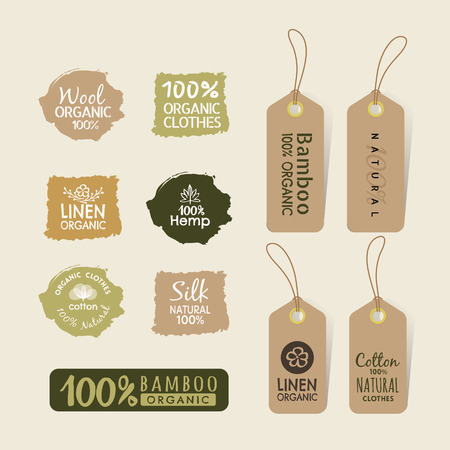 Set of eco friendly fabric tag labels collection design elements