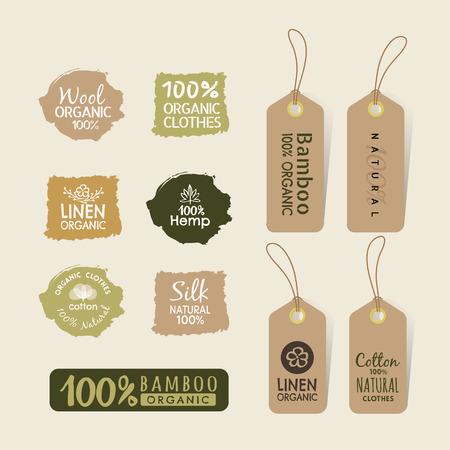 bambou: Set of tag eco friendly tissu étiquettes des éléments de conception de collecte Illustration
