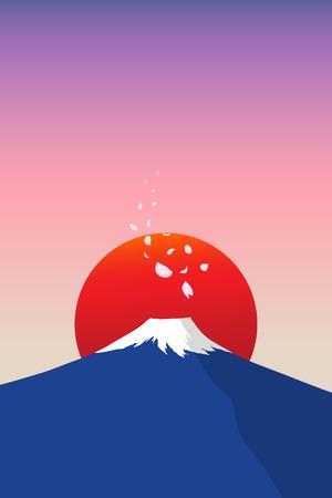 fuji mountain: fuji mountain with falling sakura petals and red sun in background illustration with minimalism style